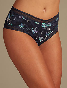 Cotton Rich Lace Printed Midi Knickers
