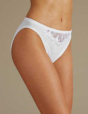 Floral Lace Embroidered High Leg Knickers