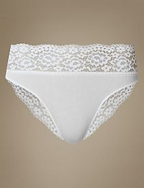 Vintage Lace Cotton Rich High Leg Knickers