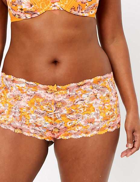 Tropical Print Lace Shorts