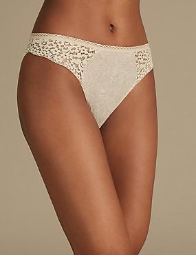 Cotton Rich Vintage Lace High Leg Knickers