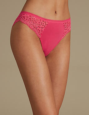 Cotton Blend Vintage Lace High Leg Knickers