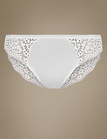 Cotton Blend Vintage Lace High Leg Knickers