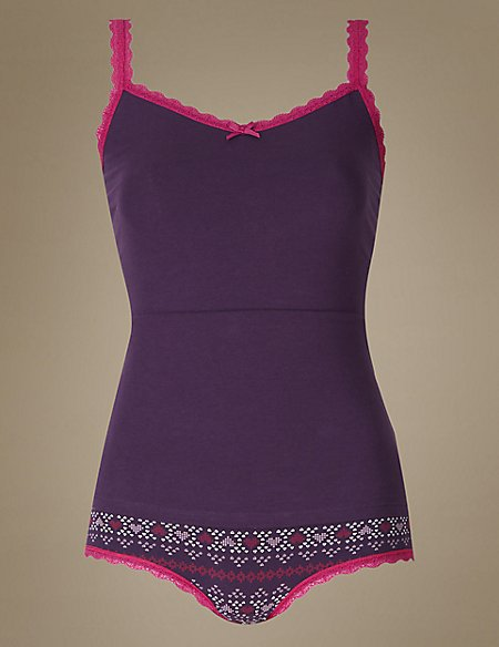 Cotton Rich Lace Trim Vest Set