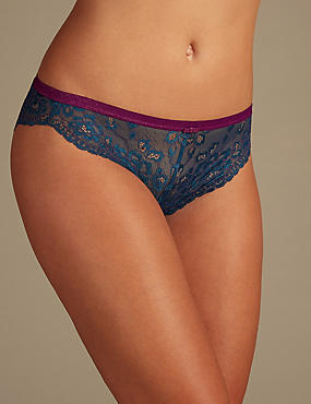 Glitter Lace High Leg Knickers