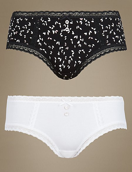 2Pack Pretty Cotton Print Low Rise Short Knickers