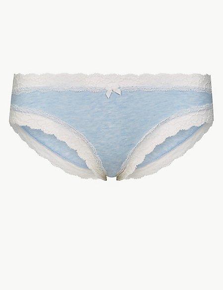 Cotton Blend Lace Bikini Knickers