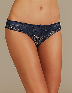 Jacquard & Lace Floral Print Bikini Knickers