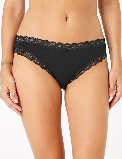 Cotton Lace Trim Bikini Knickers