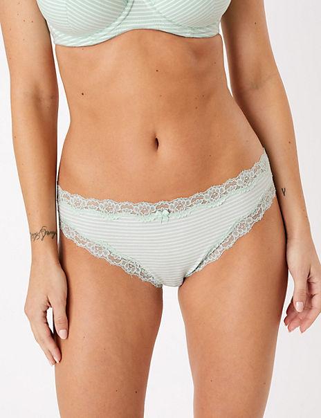 Cotton Rich Lace Trim Bikini Briefs