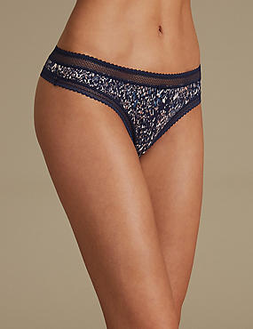 Lace Trim Printed Thong