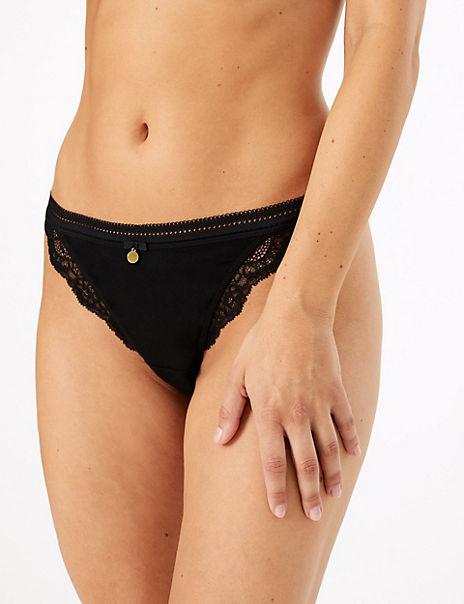 Cotton & Lace Tanga Garter Style Thong