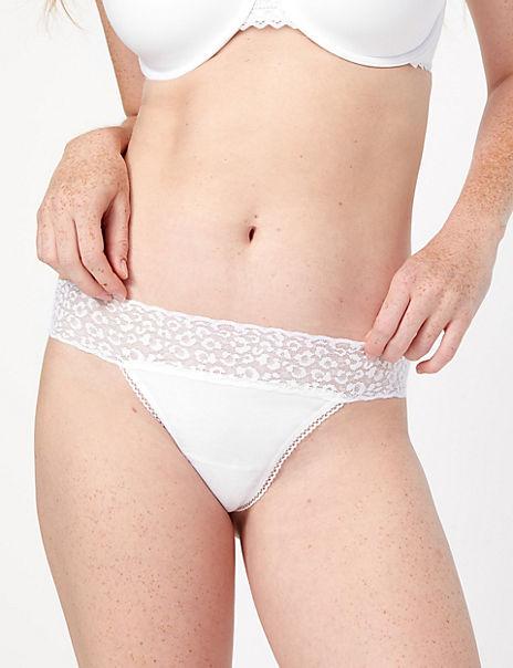 Cotton & Lace Thong