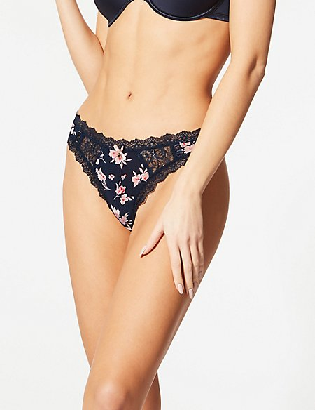 Lace Embroidered Thong