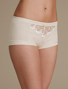 Floral Embroidery High Rise Shorts