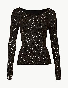 Heatgen™ Star Foil Long Sleeve Top, BLACK MIX, catlanding
