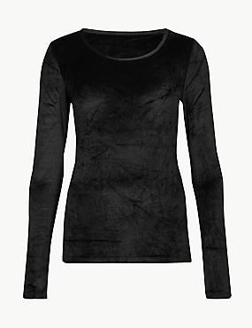 Heatgen™ Velvet Scoop Neck Top, BLACK, catlanding