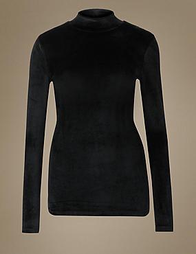 Heatgen™ Velvet Turtle Neck Top, BLACK, catlanding