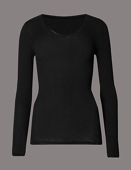 Heatgen™ Thermal V-Neck Top with Cashmere