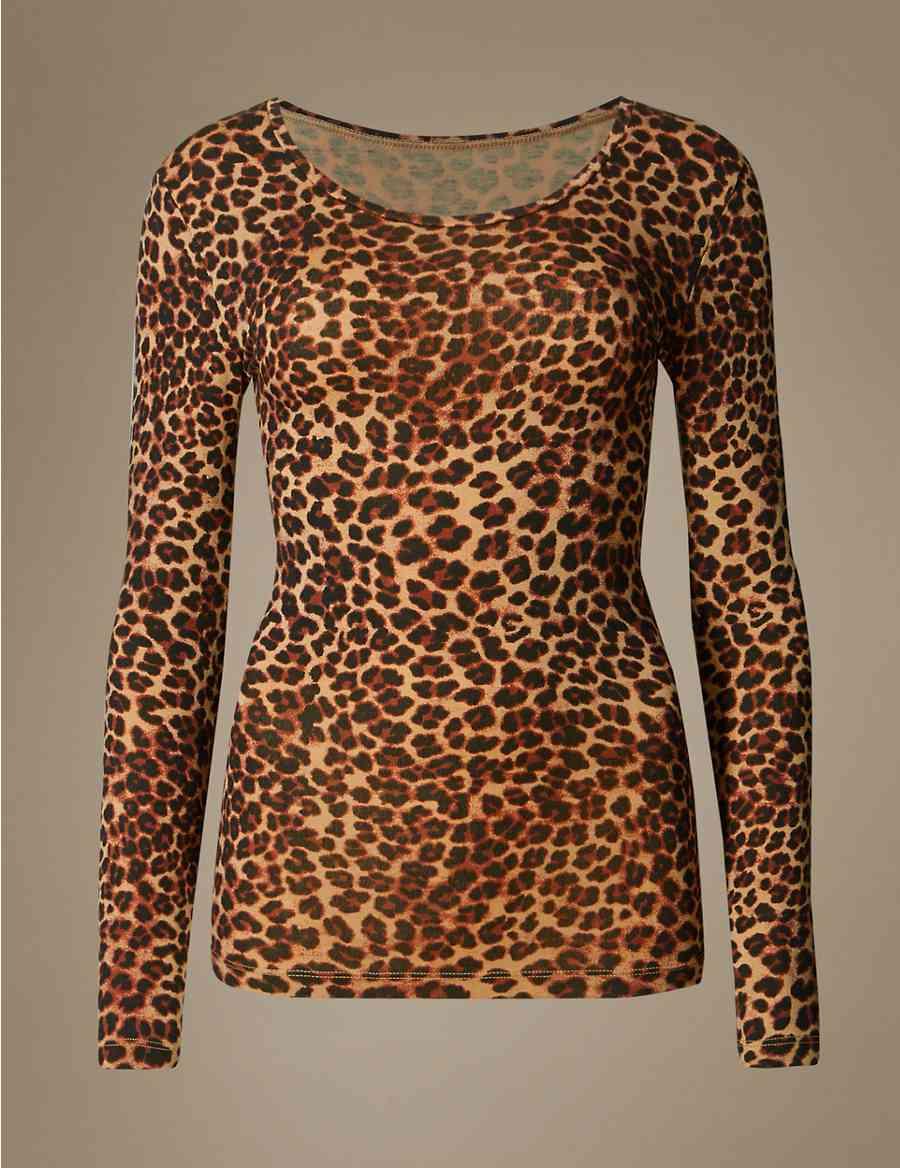 b14cb4870b Heatgen™ Thermal Long Sleeve Leopard Print Top