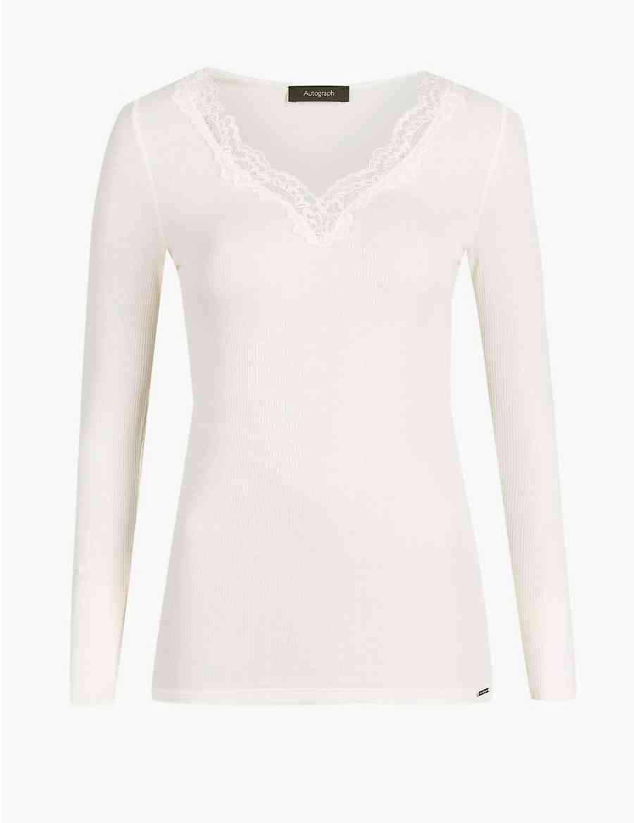 a583fd5be1 Thermal Long Sleeve Top with Silk