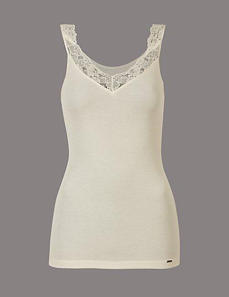 Lace Trim Modal & Silk Blend Thermal Vest