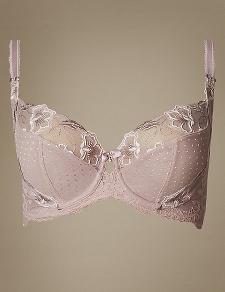 Embroidered Non-Padded Balcony Bra DD-GG
