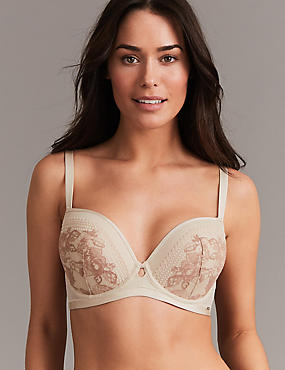 Lace Embroidered Padded Balcony Bra A- G