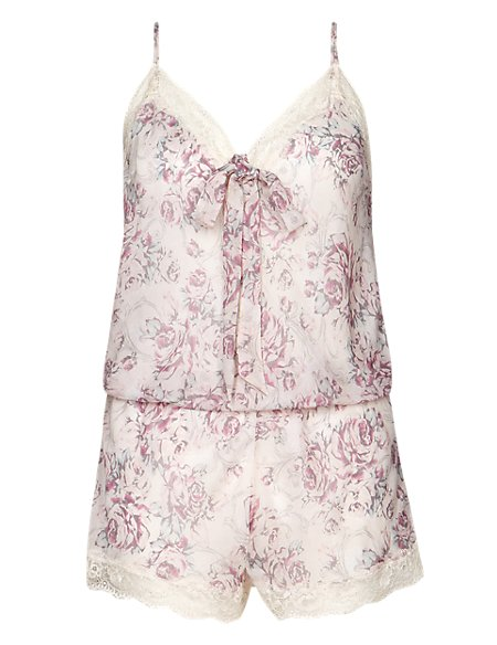 Printed Silk Chiffon Teddy with French Designed Rose Lace