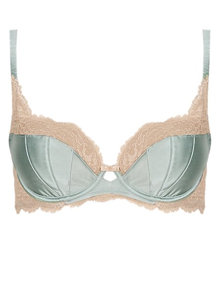 Silk Non-Padded Balcony A-DD Bra with French Designed Rose Lace