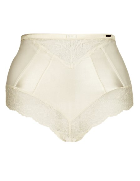 Silk High Waisted Knickers with French Designed Rose Lace