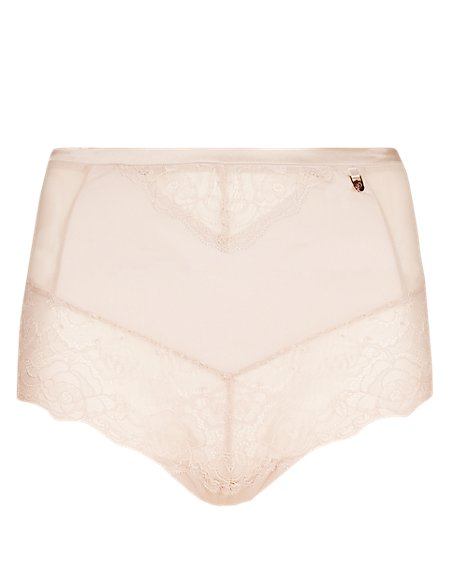 Nude Rose™ No VPL High Waisted Knickers with French Designed Rose Lace & Silk Trims