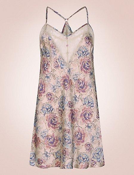 Silk & Lace Print Chemise