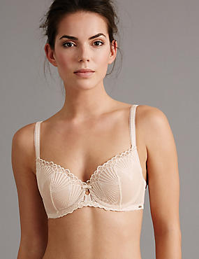 Embroidered Padded Balcony Bra A-E