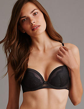 Dentelle Lace Padded Balcony Bra A-E