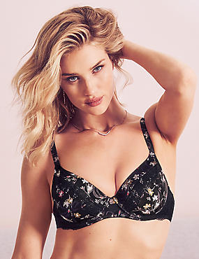Silk & Lace Padded Full Cup Bra A-E