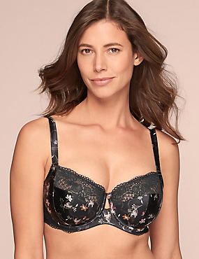 Silk & Lace Floral Print Non-Padded Bra DD-G
