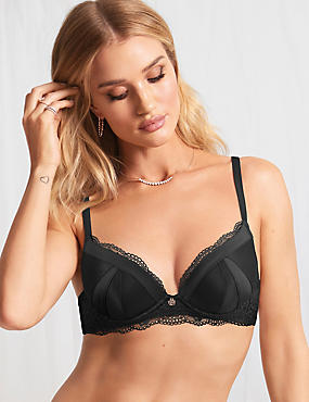 Lace Padded Plunge Bra A-E with Silk
