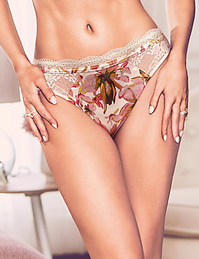 Silk & Lace Floral Print Thong