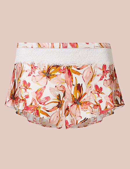 Silk & Lace Floral Print French Knickers