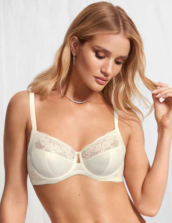 a619fc6f24425 Lace Non-Padded Balcony Bra B-G with Silk