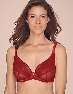 Spot Mesh & Lace Non-Padded Plunge Bra DD-G
