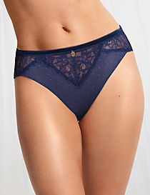Spot Mesh & Lace High Leg Knickers
