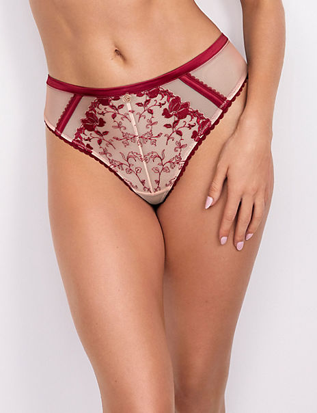 Floral Embroidered Thong