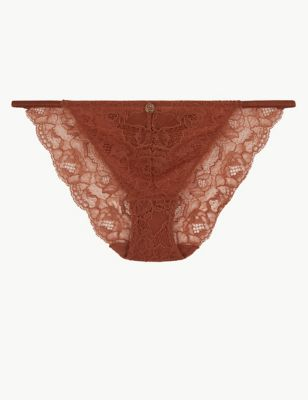 Lace Tanga Brazilian Knickers with Silk Sides