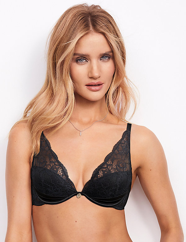 NEW MARKS /& SPENCER M/&S ROSIE AUTOGRAPH SILK LACE PADDED PLUNGE BLACK BRA 30 C