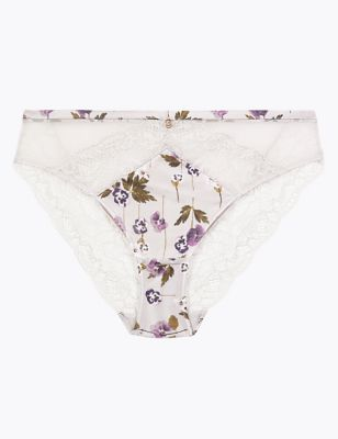 Silk & Lace Pansy Print High Leg Knickers