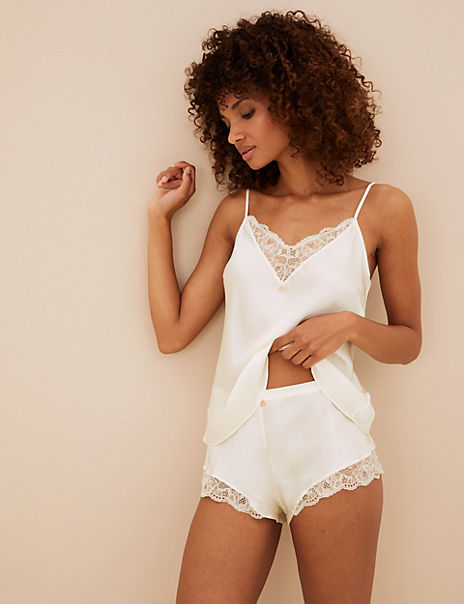 Silk & Lace French Knickers with Lurex