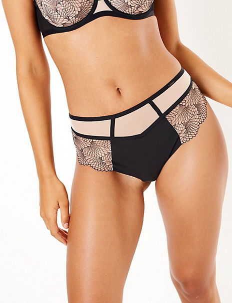 Embroidered High Waist Brazilian Knickers