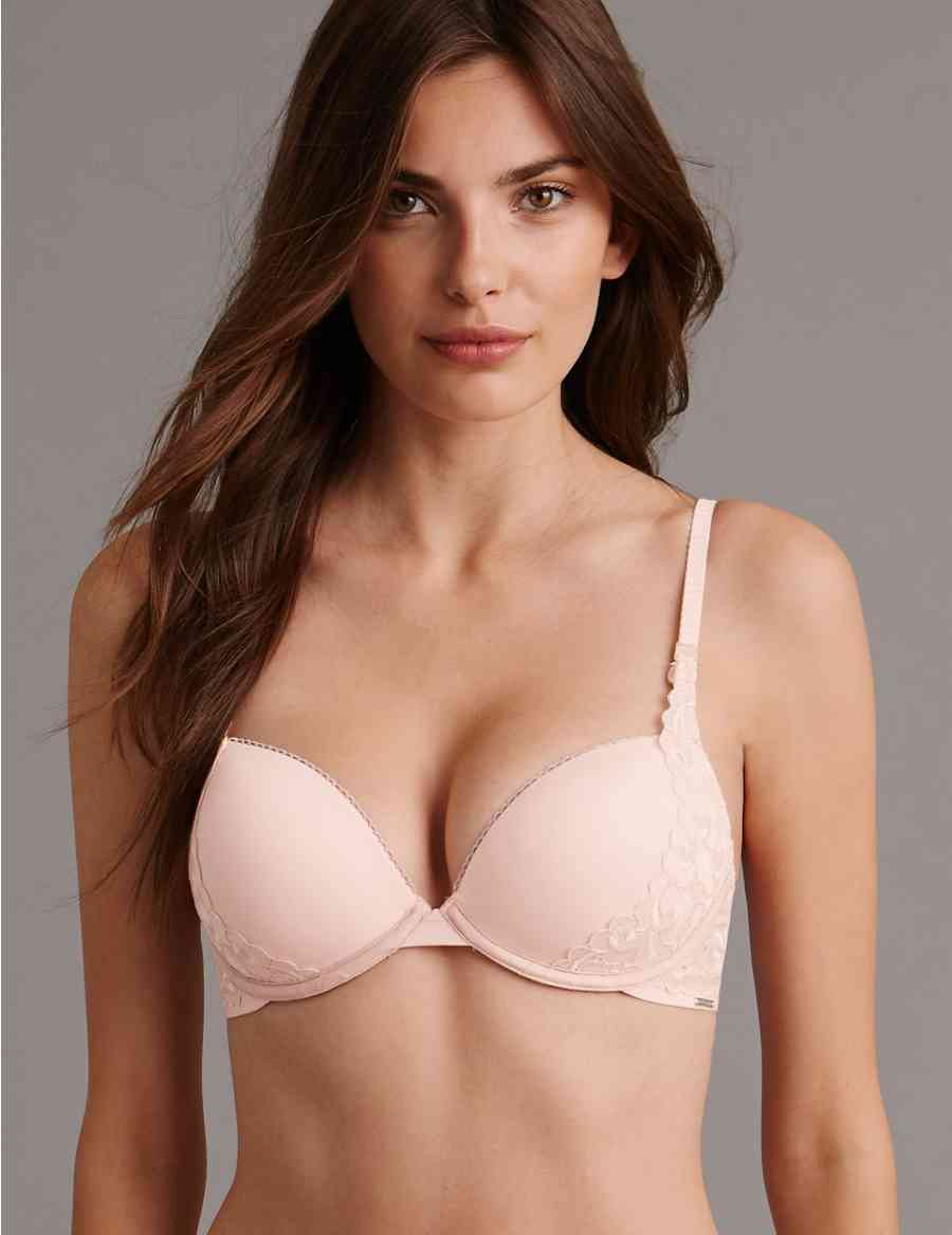 2df429e43f4ae Guipure Embroidered Padded Balcony Bra A-E